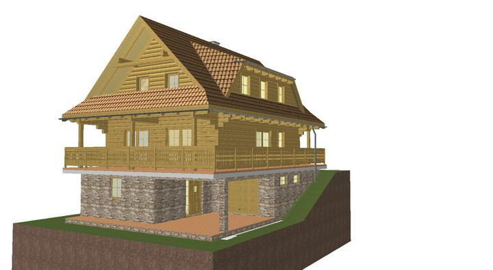 Projekt domu - pohlad z predu.dole garaz a vchod