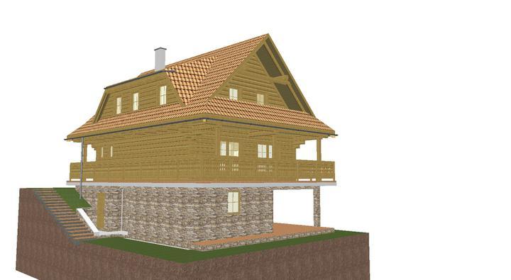 Projekt domu - pohlad z boku.bocna pivnica a vyklenok na drevo
