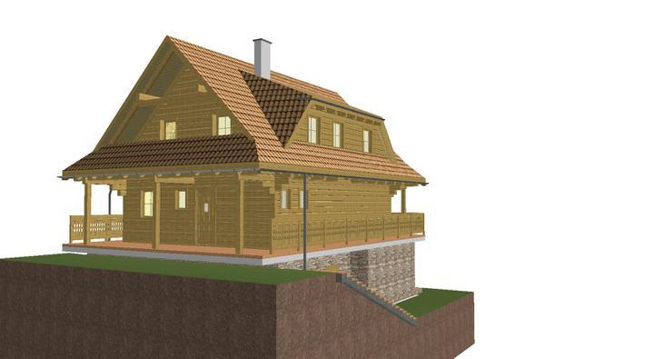 Projekt domu - vychod zo zadu z kuchyne na terasu
