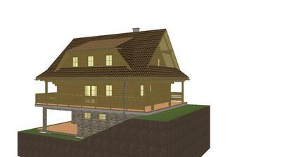 pohlad z boku.okolo celeho domu je terasa, tak sa da dostat odvsadial dnu a von