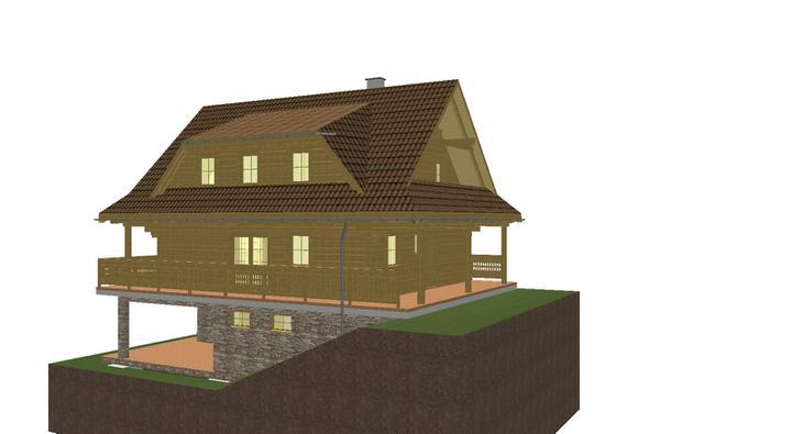 Projekt domu - pohlad z boku.okolo celeho domu je terasa, tak sa da dostat odvsadial dnu a von