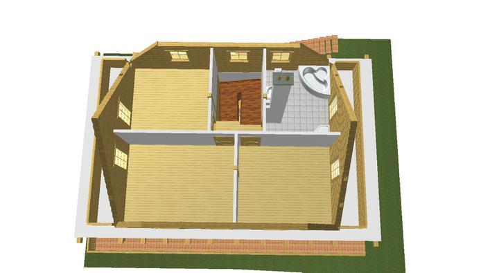 Projekt domu - kupelna spalna a 2 izby.
