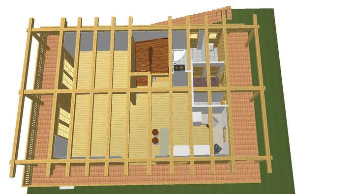 Projekt domu - kupelna, obyvka, jedalen a kuchyna - vsetko otvorene
