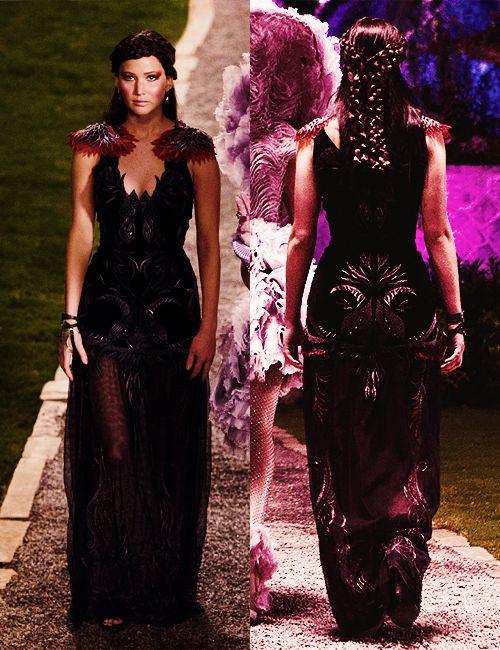 Hunger Games- Wedding - Katniss- šaty z predsvadobného večierka u prezidenta (pohľad spredu a zozadu)