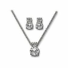 Favorit, Rhodium plated pendant with matching pierced earrings; both set with brilliant cut crystals. Size 40cm