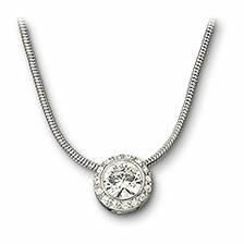 Rhodium plated pendant with solitaire clear crystal chaton set in clear crystal pavé on snake chain.Size 38cm