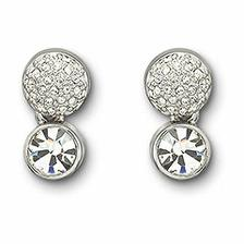Rhodium-plated clip earrings with clear crystal pavé fireball and dangling clear crystal chaton.Size 1.9cm