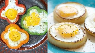 Odkrojte hruby platok papriky alebo cibulky, dajte na panvicu a do toho rozklepnite vajicko