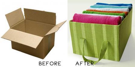 Urobte z krabice a latky peknu nadobu na cokolvek