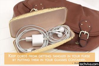 Obal na okuliare moze sluzit ako nosic na kable.