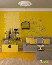 Hala bude v tejto farebnej trojkombinácii - 3 steny žlté, 1 takáto svetlo hnedá, nábytok, lišty, doplnky a podlaha biela a kovové doplnky mosadzné