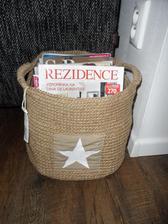 Nejaký pekný košík na časopisy do obývačky ku gauču