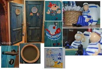 Dvere pôjdu na modrú patinu a presne takto okienko z okrúhleho rámika, ale zaňho prídu rybičky.