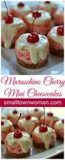 Mini Maraschino Cherry Cheesecakes