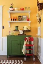 steny v kuchyni budu namalovane takto zltou farbou