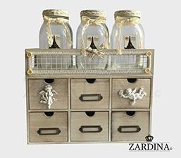 organizer Dorset - Wooden Shabby Chic Vintage 6 Drawer with Jars Mini Storage Organiser  amazon 30 eur