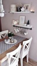 ak bude jedalensky stol pritlaceny ku stene, tak na stene taketo nejake dve policky ozdobene