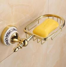 drziak na mydlo nad vanu www.wish.com brand new gold color wall mounted soap holder base with ceramic bathroom accessories cena 13eur