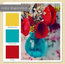 Farebna kombinacia do vstupnej haly tyrkysova, cervena, zlta a s bielymi doplnkami a drevenou dlazbou