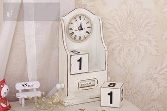 hodiny a kalendar do malej chodby Vintage Wooden Perpetual Block Calendar & Clock Decorative Stand Desk Office 19 eur www.wish