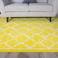 Mozno dam pod komodu do vstupnej haly koberec koberec  Amazon Ochre Yellow Bright Geometric Trellis Fish Net Design Living Room Floor Rug 80cm x 150cm  50eur