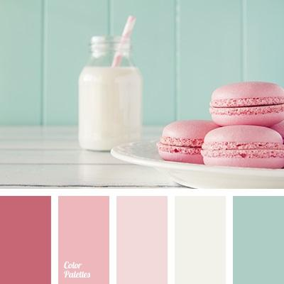 Moja spalna: farebna kombinacia takato - biela, ruzovkasta, tyrkysova, pudrove odtiene