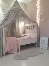 moja spalna: nad postel pojde nejak zaujimavo porieseny baldachyn, mozno baldachyn do rohu takto na celu stranu postele pri stene