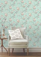 do mojej spalne: bud tapeta Duck Egg Birds Butterflies Luxury Wallpaper French Style Vintage Country