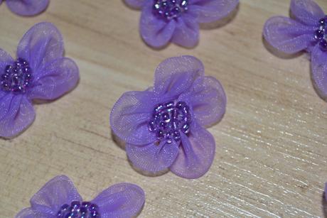 Kytičky organzové lila, 10 ks - Obrázek č. 1
