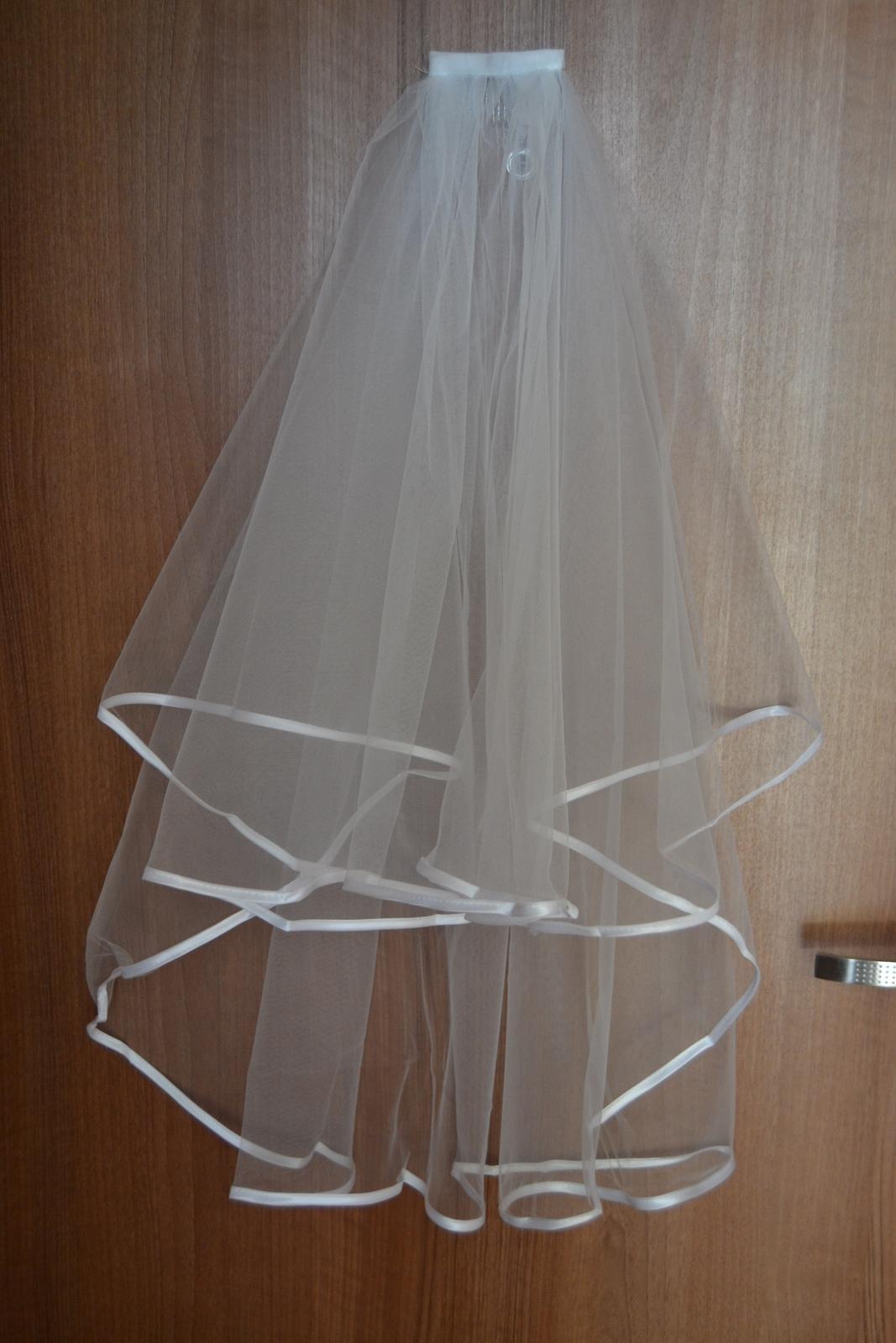 Bílý závoj s hřebínkem, nový - Obrázek č. 1