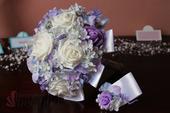 Svatební kytice lila - hortenzie,