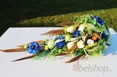 Svatební kytice převislá zeleno-modrá,