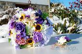 Svatební kytice fialovo-žlutá vč. korsáže,