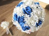 Svatební kytice v král. modré vč. korsáže,
