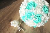 Svatební kytice mentolová vč. korsáže,