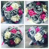Netradiční svatební kytice šedo-fuchsie,