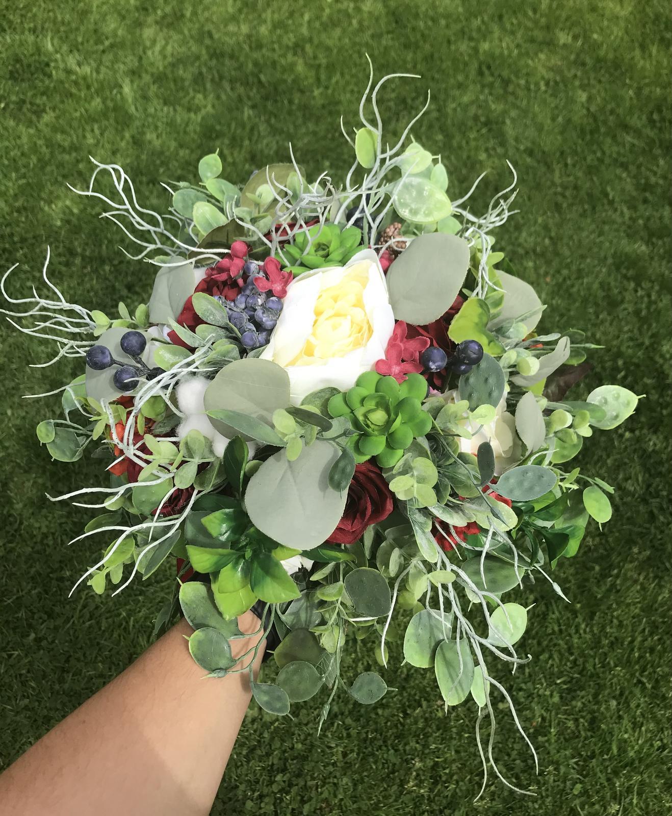 Svatební kytice bordó - boho - Obrázek č. 1
