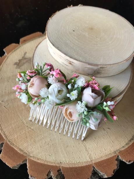 Květinový hřebínek do vlasů - růžový - Obrázek č. 1