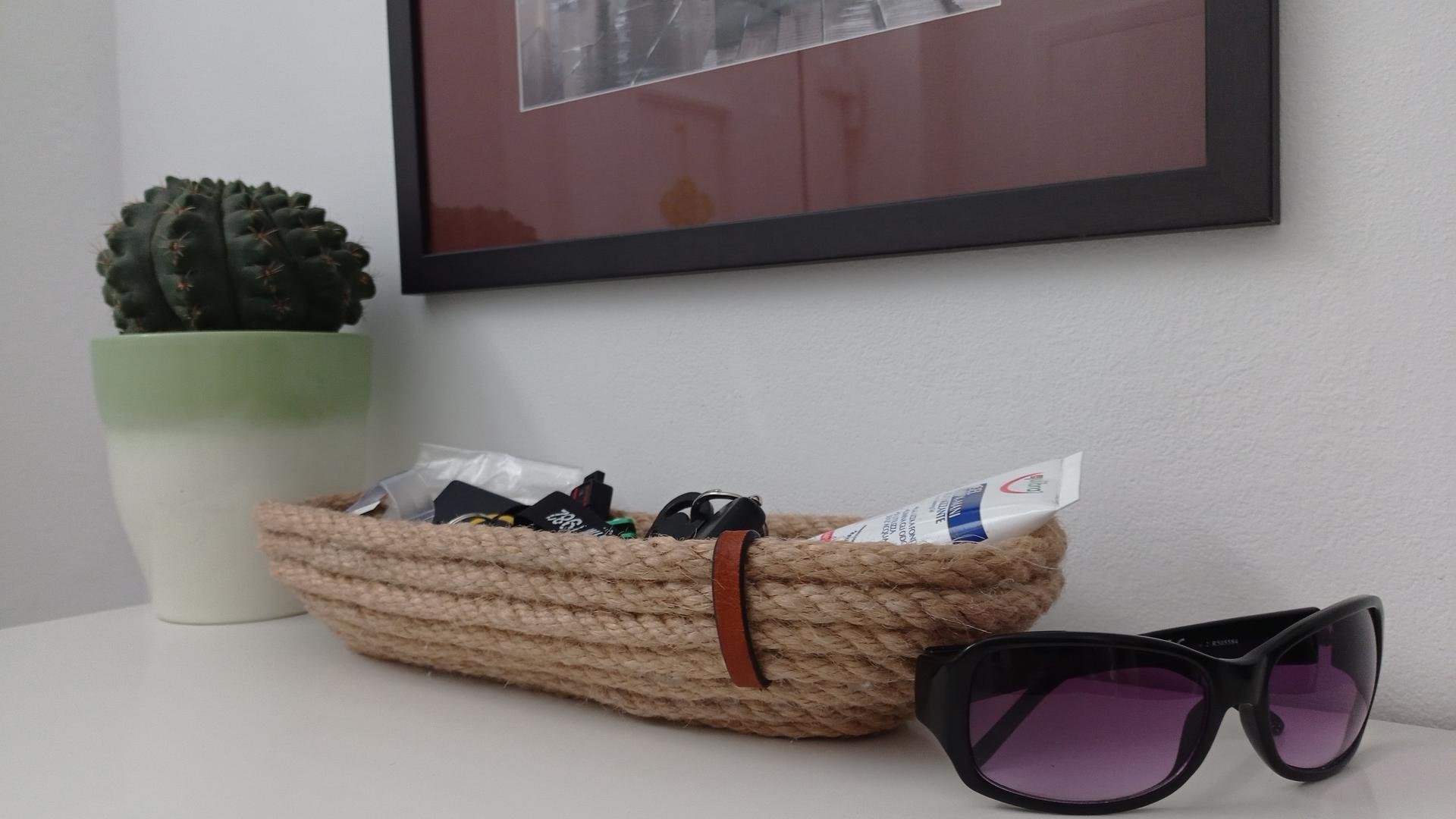 Vyrobený košík na kluce z lana. - Obrázok č. 1