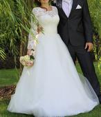 Svatební šaty s dlouhým rukávem, vel.36-38, 38