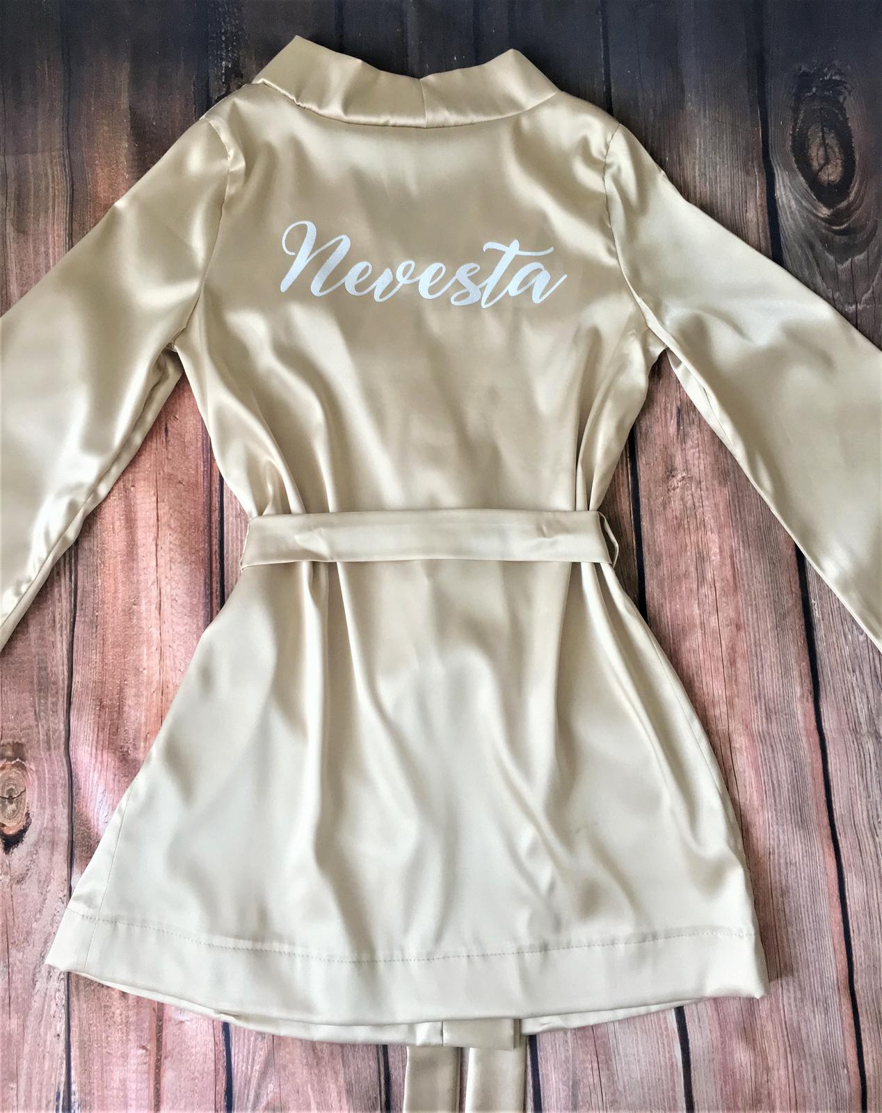 Svadobné župany + papučky+ spodná bielizeň - farba č 19-šampáň,strih vhodný pre XS-S, pre čísla M-XXL je v ponuke kimonový strih
