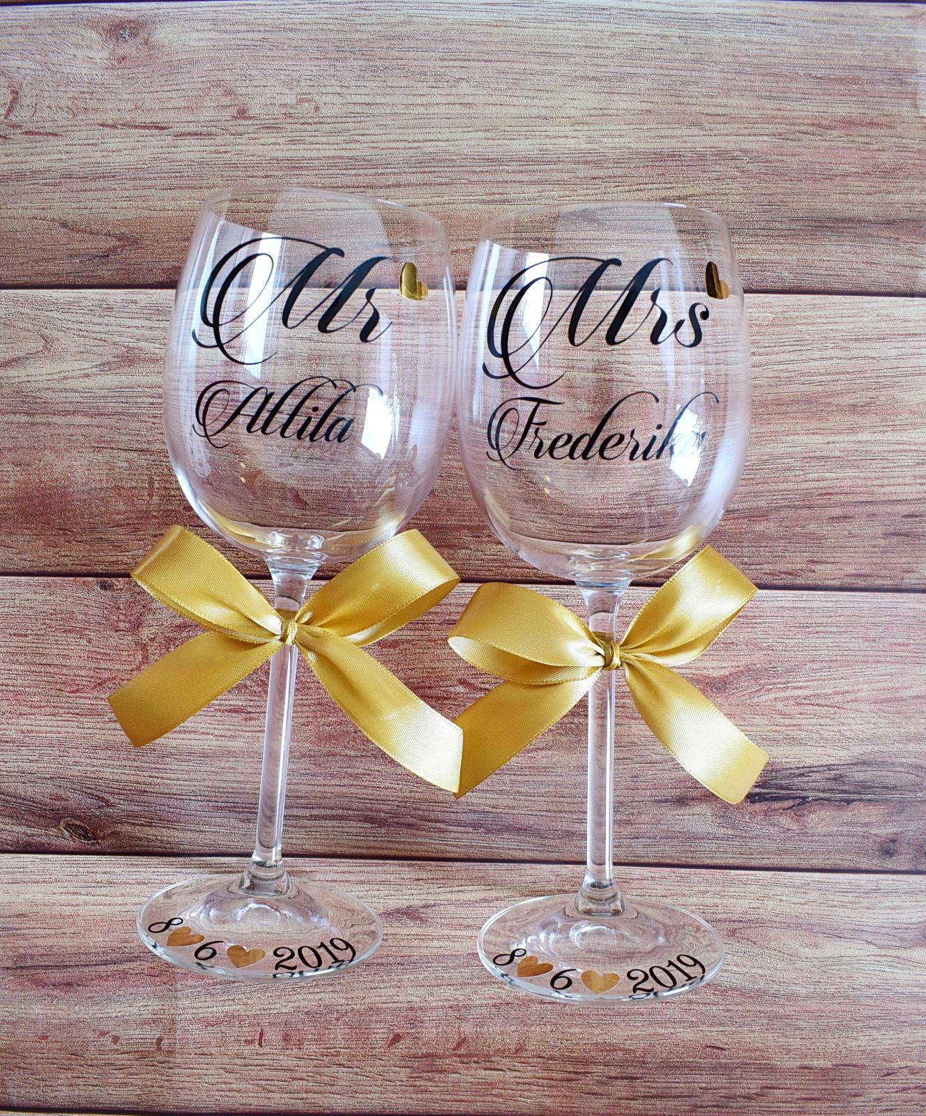 Svadobné poháre - Milovať a milovaný byť, je najväčšie šťastie na svete. J. W. Goethe