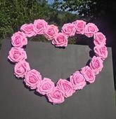 Svadobné srdce na auto Ružové ruže,