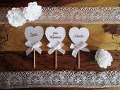 Menovka pre svadobných hostí Hear White Pearl,