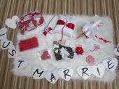Set dekorací-co zbylo z červenobílé svatby,