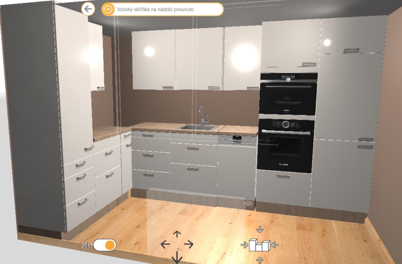 Čo si myslíte o takomto rozložení kuchyne? Nejaké tipy nápady, čo by sa s tým dalo? Varná doska by bola vľavo vedľa potravinovej skrine hneď. Roh by bol normálne skrinka, len v tejto vizu to nie je :) - Obrázok č. 1