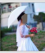 Čipkovaný svadobný dáždnik biely,