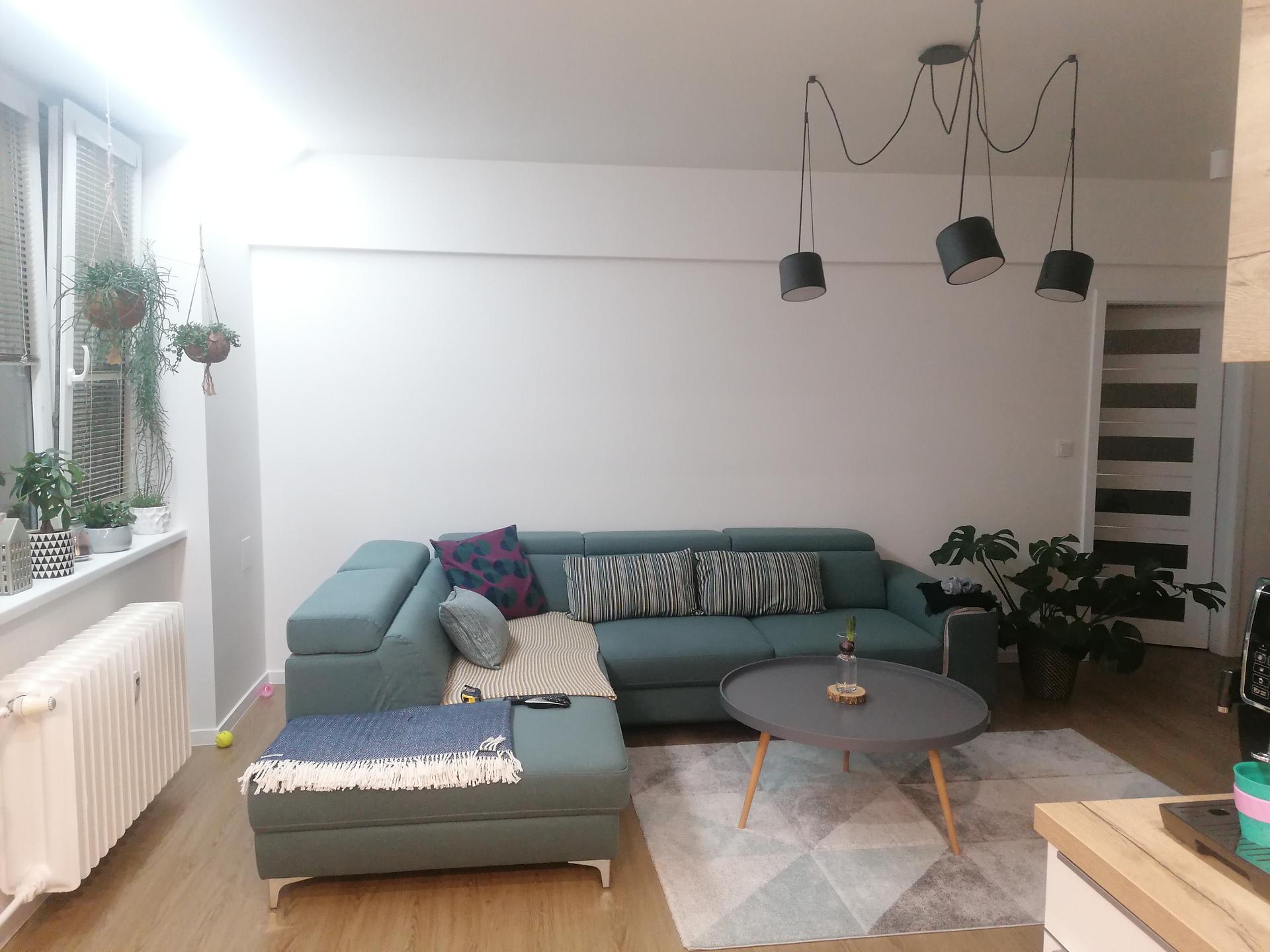 Mám dilema jestli vymalovat zeď na sedačkou šedou barvou. Na zdi je takový soklik, vymalovat asi i ten že. Nevim čím oživit. - Obrázek č. 2