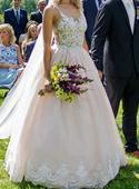 Pudrové svatební šaty - sukně a body, 38