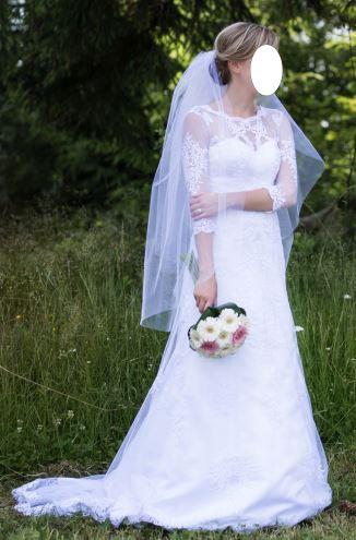 Celokrajkové svatební šaty 34-36 - Obrázek č. 1